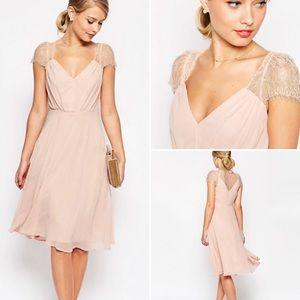 NWT ASOS Kate Lace Midi Dress, Pink, Size 6